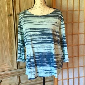 Lucy 3/4 Sleeve Yoga Casual Blue Top Size XLarge
